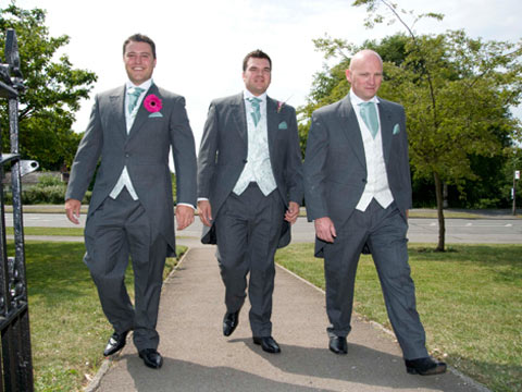 Groom and Groomsmen arriving at church